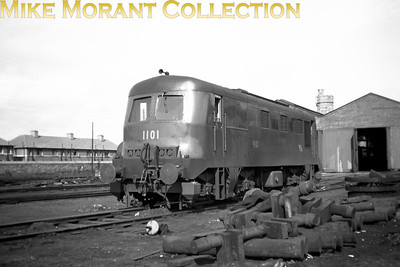 Vintage Irish Republic Railways - Diesel in EireCIE class C2a Bo-Bo diesel no. 1101, by now three years in sevice, at Inchicore shed on 1/9/53.