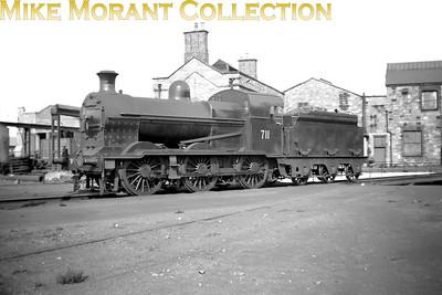 Vintage Irish Republic Railways - Steam in EireEx-GSR J15B 0-6-0 no. 711 at Inchicore shed on 1/9/53.