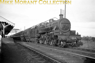 Vintage Irish Railways - Northern Ireland - UTAFormer NCC 'W' class mogul No. 104 prepares to depart from Ballymoney whilst in charge of the 5.30 p.m. Belfast to Derry express  on 4/9/53.
