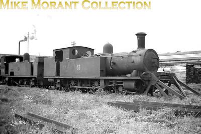 Vintage Irish Republic Railways - narrow gauge steam in EireEx-CBPR class FN1 class 2-4-2T no. 13L at Inchicore shed on 1/9/53.