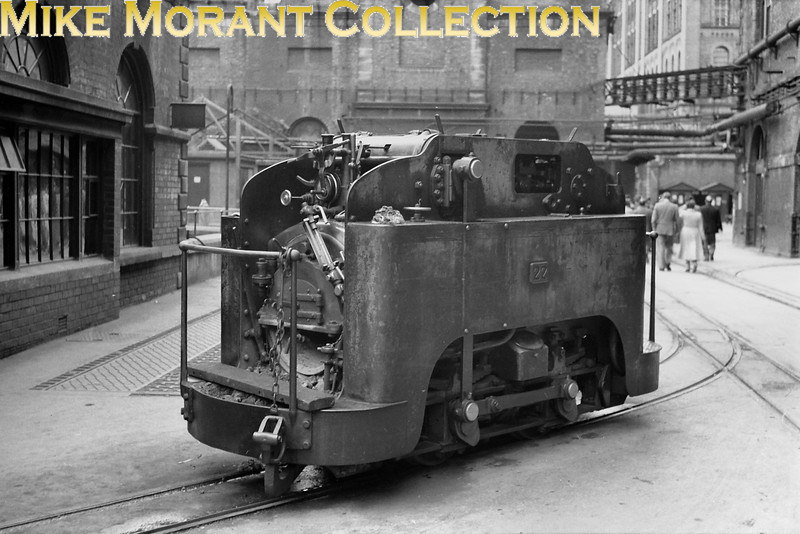 """<center><u>Vintage Irish Republic Railways - Narrow Gauge in Eire - 1954</u><br>The last built of the famed 1' 10"""" gauge Guiness brewery 0-4-0T locomotives, no. 23, photographed at St. James's Gate brewery on 16/9/54.</center> Andrew Waldron comments: <i>""""Guinness No 23 outside the half quarter engine shed, the only such shed of its type. The loco is almost over the big Cowans Sheldon turntable used to turn each loco to access the shed. In this view the loco must have been either in use or about to be put away for the night. After the diesels arrived steam was on standby duty only but I have it that two locos were in use on a day to day basis up to 1955. Until now I knew one was definitely No22, hence your photo proves, I think that No 23 was the other, I had suspected so all along, but as they say photographs can prove the point.""""</i>"""