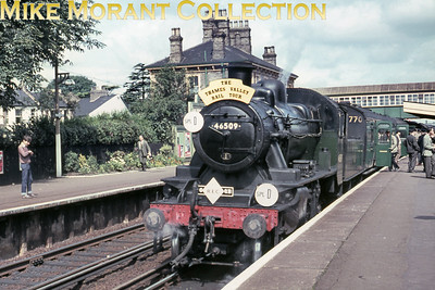 LCGB/REC: The Thames Valley Rail Tour 25/7/65 Willesden allocated, green liveried Ivatt 2MT 2-6-0 no. 46509 started this tour by negotiating the Kingston Loop and is depicted here during the photo stop at Teddington.