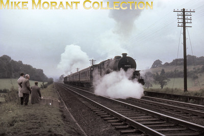 LMSR Hughes 'Crab' 2-6-0 no. 42827 with Hawksworth pannier tank n. 9403 as banker working hard at Vigo during the ascent of the Lickey Incline on September 7th, 1963.
