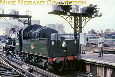 LCGB/REC: The Thames Valley Rail Tour 25/7/65 Willesden allocated, green liveried Ivatt 2MT 2-6-0 no. 46509 started this tour and is depicted here reversing into Waterloo at the start of this convoluted jolly.