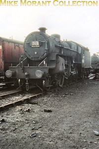 Hughes 'Crab' 2-6-0 no. 42763 at Cricklewood mpd in June 1964. Interestingly, the 16D Nottingham Victoria) shed code is correct and this would prove to be 42763's last month in service. [Slide taken by Mke Morant]