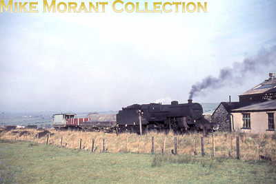 """LMSR Hughes 'Crab' 2-6-0 no. 42901 with a very short goods train at Shaw's Spring on November 4th, 1961. I had no idea where Shaw's Spring was other than that it must be in the northwest of England but David Woodcock's diligence and persistence together with definitive confirmation from Andy Cooper of the Manchester Model Railway Society confirms that the """"Shaws spring"""" photo is of Whitekirk Brick & Tile Works, the then terminus of the truncated Darwen-Hoddlesdon goods only branch of the L&YR. 42901 was allocated to Agecroft shed when this shot was taken and would eventually see the end of its days at Gorton in May 1965. [Mike Morant collection]"""