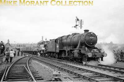 SLS: Last Train on the Somerset & Dorset Line 6/3/66 The tour title (above) is what was printed on the participants' tickets. Depicted are Stanier 8F 2-8-0 no. 48706 and BR Standard 4MT 2-6-4T no. 80043, both Bath Green Park allocated engines, at Shepton Mallett (Charlton Road).