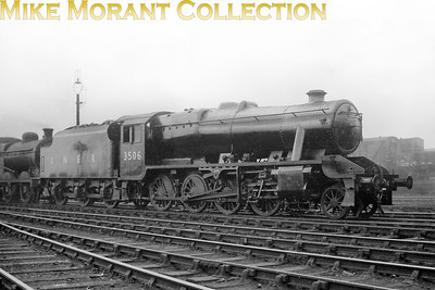 It's easily forgotten that during WW2 Stanier 8F 2-8-0's were built for the LNER and were classified as O6. Here we see Brighton built no. 3506 seemingly brand new at Doncaster complete with LNER on the Stanier tender. All this class were subsequently sold to the LMSR in 1947 with this example being numbered 8711. Its BR number 48711 was applied in December 1949 and withdrawal came at Speke Junction mpd in January 1967.