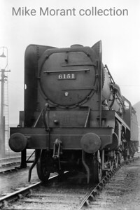 LMS Fowler 'Royal Scot' 4-6-0 no. 6151 The Royal Horse Guardsman fitted with one of many experiments tested to try and inhibit drifting exhaust. 6151 was built at Derby in June 1930, rebuilt with a tapered boiler in April 1953 and apparently had the dubious distinction of being the first of the class to be withdrawn which occurred at Sheffield Darnall on 29/12/1962. [Mike Morant collection]