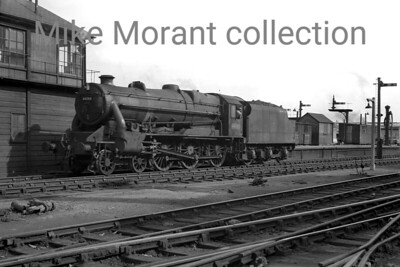Ivatt's modified Stanier 'Black 5' 4-6-0 with Caprotti valve gear no. 44748 at Derby in August 1954. 44748 was a Crewe product that entered service in February 1948 and was a Longsight engine when this shot was taken remaining there until withdrawal in September 1964. [Mike Morant collection]