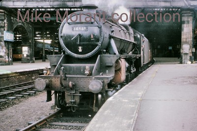 Stanier Black '5' 4-6-0 44669 in fast disappearing light at Perth station in July 1964.
