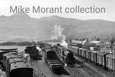 A superb panorama of the goods yard at Kyle of Lochalsh with the Isle o0f Skye as the backdrop. The picture was taken on 23/6/60 and the depicted loco is Stanier Black 5 4-6-0 no. 45479. [Mike Morant collection]