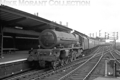 Ex-LMSR Stanier Princess Royal pacific no. 46208 Princess Helena Victoria enters Preston station in this undated view.