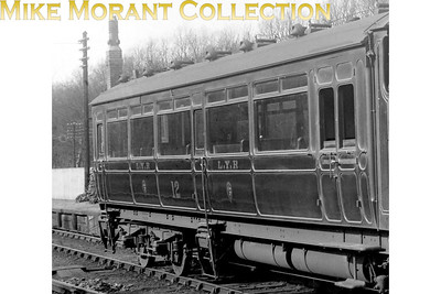 Lancashire and Yorkshire Railway  - LYR -  Hughes designed railmotor trailer no. 12 extracted from the shot of railmotor no. 13. Note the mismatch between the two numbers.