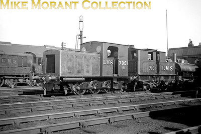 Diesel locomotive 7051 was built by the Hunslet Engine Company to demonstrate its wares. After public exhibition in February 1932, it was used for trials at a colliery, before being tested by the LMS. After further public exhibition in February 1933, it was at last purchased by the LMS in May 1933. It was loaned to the War Department from August 1940, which numbered it 27. During 1941–1944 it was returned to the LMS, but in August 1944 it returned to the WD, now numbered 70027. After the end of World War 2 it was returned to the LMS, but was withdrawn in December 1945 and resold back to Hunslet. Hunslet used the locomotive as a works shunter, but it was also available for hire, and spent time at oil refineries in Essex and with British Railways. In September 1960 it was preserved by the Middleton Railway in Leeds and named John Alcock. It remains at the Middleton Railway, but has spent time on loan to other locations, including the National Railway Museum, York. No. 7161 was the second of four Sentinel 0-4-0VBT's built in 1930 and later renumbered to 7181 by the LMS. 7161 was BR branded as 47181 in September 1949 whilst allocated to Sutton Oak mpd and was withdrawn at Shrewsbury mpd in November 1956. [Mike Morant collection]