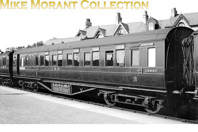 LMSR Period 1 BTO vestible coach no. 18857 at Pwllheli. 18857 was renumbered to LMS 9886 built to Diagram D1693 at Wolverton 1928 under Lot No 328. This lot was withdrawn between 9/60 and 3/64. [Mike Morant collection]