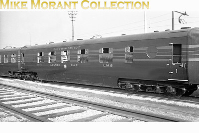 LMSR Coronation Scot articulated lounge car 56100 and its twin pair 56101 taken at an unspecified location whilst on tour in the USA. The twin-pair was built  to  Lot 1149 at Derby in 1939 and would be withdrawn in February 1964. [Mike Morant collection]