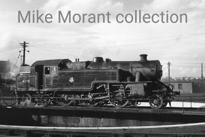Fairburn 4MT 2-6-4T no. 42198.straddles the turntable at Haymarket shed in Edinburgh. 42198 was a long serving resident of Stirling shed when this undated shot was taken. [Mike Morant collection]