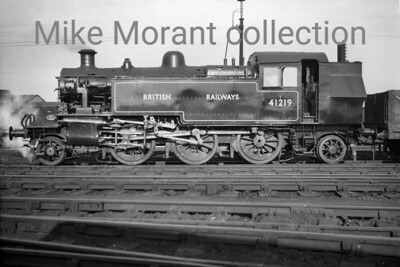 With no background data supplied I suspect that this nice profile shot of Ivatt 'Mickey' Mouse 2-6-2T no. 41219 was taken at Crewe in 1948 before being allocated to Northampton in November 1948. Withdrawal was from Leicester mpd in October 1965 after only 17 years in service with BR.