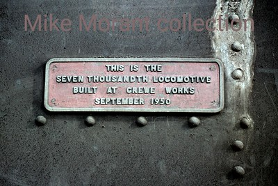 An almost self-explanatory commemorative plaque proclaiming that Ivatt' Mickey Mouse' 2-6-2T no. 41272 was the 7000th engine built at Crewe. The picture was taken at Neasden shed on 2/10/60 whilst 41272 was allocated there.