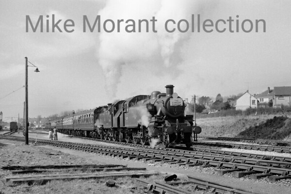<center><b>Plymouth Railway Circle/RCTS: The Exmoor Ranger 27/3/65</b><br> Ivatt 'Mickey' Mouse' 2-6-2T's nos. 41206 and 41291 double-head the special as it departs from Barnstaple (Victoria Road) on the way to Ilfracombe.<br> [<i>Mike Morant collection</i>]</center>
