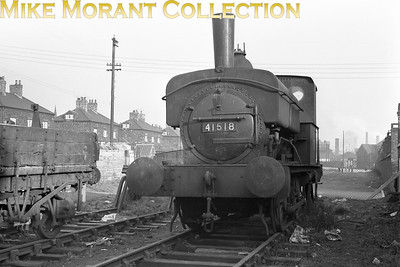 Former Midland Railway Johnson 0F 0-4-0ST no. 41518, with shedplate removed, taken in 1957 at Staveley Barrow Hill shed. 41518 was at Barrow Hill from 1955 and moved to Lower Darwen at the end of December 1957 followed by withdrawal in February 1958. [Mike Morant collection]