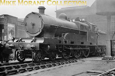 The prototype LNWR Bowen Cooke 'Claughton' 4-6-0 no. 2222 Sir Gilbert Claughton at Crewe in 1922. The class name was derived from this loco's name and he was the chairman of the LNWR when the loco was built at Crewe in 1913. The LMSR wisely renumbered this class sequentially with 2222 becoming no. 5900. Withdrawal was in March 1935.