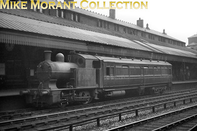 """Lancashire & Yorkshire railmotor was a Horwich works product designed by Hughes and dating from 1906. No 10609, L&YR no. 12, was withdrawn from service in June 1937. Further information comes from David Beilby: """"This looks like Bolton Trinity Street .  The railmotors are best remembered for their role on the Horwich branch, but from my 1931 WTT just one of these started at Bolton, otherwise they just ran from Blackrod.  Much more likely is that it was working a Radcliffe to Bolton service, which was a Motor Train in that period"""". [Mike Morant collection]"""