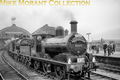 Halifax Railfans Club: The South Yorkshireman 29/9/62 LYR Aspinall 3F 0-6-0 no. 52515 pilots Fowler 4F 0-6-0 no. 44408 at Darlington. No. 52515 was a 56E Sowerby Bridge allocated engine when this shot was taken and withdrawal from that shed would come in December of the same year.