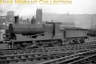 Former L&RY, Aspinall '27' class 0-6-0 no. 52400 at the north end of Halifax Town station with Halifax Minster as the backdrop. No. 52400 would be withdrawn at Sowerby Bridge mpd in November 1960. [Mike Morant collection]