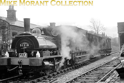 LCGB/RVRS (Roch Valley Railway Society): L & Y Pug Rail Tour 19/2/67 Former LYR 'Pug' no. 51218 at Whitworth station which had closed some two decades earlier on 16/6/47. This tour comprising 51218 plus four brake vans did three round trips from Rochdale to Whitworth on the day. [Mike Morant collection]