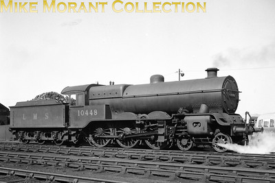 Lancashire and Yorkshire Railway Hughes designed Dreadnought 4-6-0 No. 10448 is still in LMS livery at Blackpool on 28/5/49. Withdrawal from service would occur later in the year.