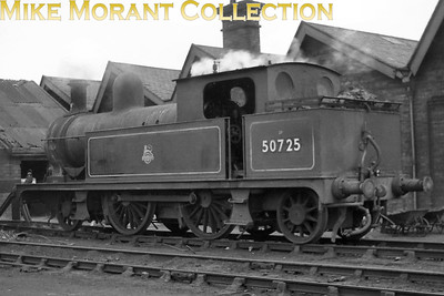 L&YR, Aspinall designed 1008 class 2-4-2T no. 50725 at Mirfield shed. 50725 would be withdrawn at Huddersfield mpd in October 1958. [Mike Morant collection]