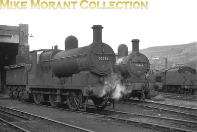 Aspinall '28' class 0-6-0 no. 52576 and 1008 class 2-4-2T no. 50818 at Mirfield mpd in 1956. [Mike Morant collection]
