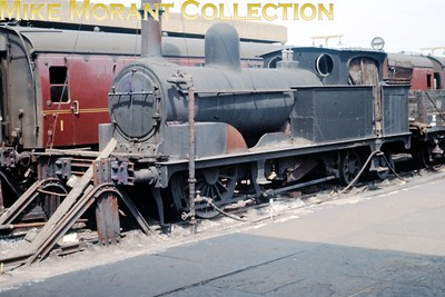 Blackpool Central station was home to a pair of these former L & Y R Barton Wright 0-4-4T's with most of the wheels and running gear removed but none, as far as I know, is readily identifiable. This shot, possibly a copy slide, was taken on 4/6/63. [Mike Morant collection]