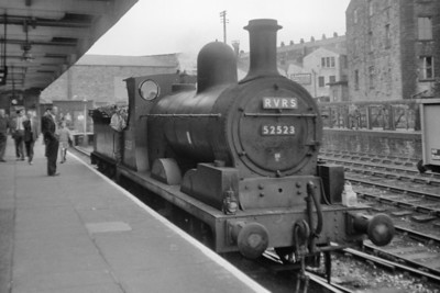 Roch Valley Railway Society: Salford Hundred Rail Tour 28/7/62 This convoluted start/stop employed two locos this being Lancashire & Yorkshire Railway Aspinall 3F 0-6-0 no. 52523 photographed here at Bacup which would be closed by BR in 1966 despie being, allegedly, a well used service. 52523 was a Bolton allocated engine when this tour ran and would be withdrawn in the September.