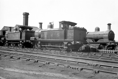 Midland Railway Johnson designed  1F class  0-6-0T no. 1743 was built at Derby in 1884 and is depicted here at its birthplace in 1934 and is probably awaiting the attentions of the cutter's torch.