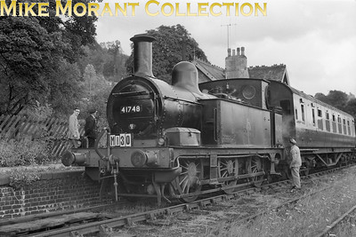 SLS: Dursley Centenary Rail Tour 25/8/56 Former Midland railway Johnson 'Jinty' 1F class 0-6-0T No. 41748 at Nailsworth. The tour visited Stroud, Nailsworth, Dursley and Thornbury with top and tailed with a Jinty and Ivatt 2MT 2-6-2T No. 41208.