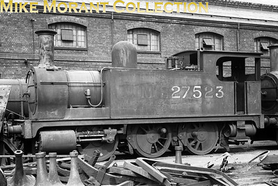 It's literally the end of the line for ex-NLR Park designed 0-6-0T no. 27523 depicted here on 8/8/37 at either Derby (as the sleeve states) or Crewe (which is the more likely). If the sleeve date is correct then this shot was taken during the month following withdrawal at Devons Road mpd. [Mike Morant collection]