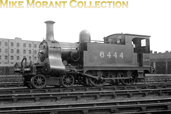 Former North London Railway 4-4-0T in its final guise as LMSR no. 6444. Built at the NLR's Bow Works under order no. 321 in 1906 and entering service as that railway's no. 5, this loco would be numbered 2804 by the LNWR and then, in February 1924, LMSR no. 6444 in red livery. Withdrawal came in June 1928.<br> [<i>Mike Morant collection</i>]