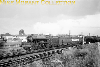 Stanier 8P pacific no. 46206 Princess Marie Louise in charge of a Down parcels train at Northwick Park in 1954. [Mike Morant collection]