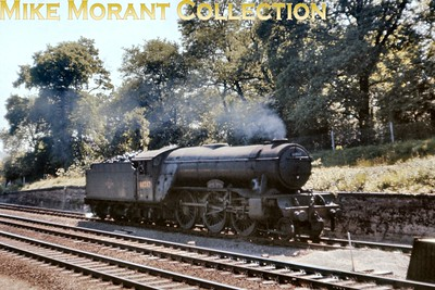 Gresley V2 2-6-2 no. 60847  St. Peter's School York, A.D. 627 scuttles, light engine, past the camera on the Down slow line on the approach to Hadley Wood south tunnel on 1/6/63. [Slide taken by Mke Morant]