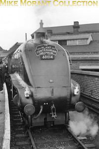 A. Pegler: The Plant Centenarian 20/9/53 Gresley A4 pacific no. 60014 Silver Link awaits departure from Doncaster and 96 mph down Stoke bank. [Mike Morant collection]