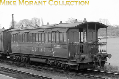 Former Wisbech & Upwell Tramway bogie composite E60461 entered service in September 1884 and was transferred to the Kelvedon & Tollesbury Light Railway when the W&U closed to passenger traffic on 30/9/28. It's depicted here at Kelvedon and looking rather careworn on April 13th, 1951. It's end came with the demise of passenger traffic on the K&TLR on 1/10/51 and has subsequently been restored at the North Norfolk Railway.