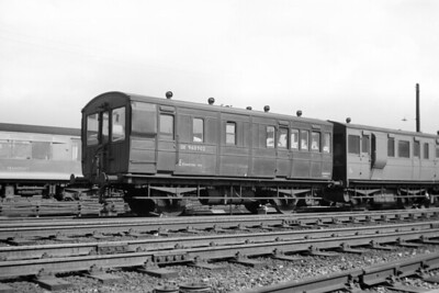 DE960902, ex-GER 4-wheel Brake Third from 1890, converted to Cambridge Inspection saloon in 1925 is depicted here at Barking on 14/9/57 whilst allocated to Stratford Engineers Dept. [Mike Morant collection]