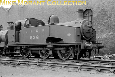 LNER Gresley J50/3 0-6-0T no. 636. I'm not going to use any more time on this image because I believe that the 35mm negative is a copy from a postcard print. [Mike Morant collection]