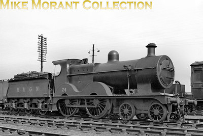M&GNJR class 'C' 4-4-0 no. 51 was built by Sharp Stewart in August 1896 and is seen here with M&GN branding/number.Rebranding and numbering to LNER no. 051 took place in September 1937. Withdrawal came in May 1943 by which time the LNER had reclassified it as a class D54.