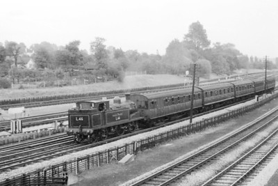 SLS: Hammersmith & City and Inner Circle Rail Tour 22/9/57 London Transport 0-4-4T no. L46 had hauled this tour train from Hammersmith, negotiated much of the Circle Line and is seen here approaching Wembley Park which would see the end of the day's proceeding.