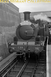 London Transport: Uxbridge Line 50th Anniversary Party 4/7/54 London Transport 'E' class 0-4-4T no. L44 at Uxbridge LT station. L44 was a ppoignant choice because, in its original guise as Metropoltan no. 1, it had hauled the inugural service 50 years previously. [Mike Morant collection]