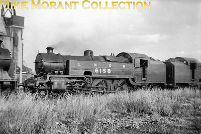 LNER L2 class 2-6-4T no. 6158 on shed at Neasden in 1938. This class entered service with the Metropolitan Railway in 1925 and was essentially a Maunsell design. This example was the first to enter service as MR no. 111 and would pass into LNER ownership in 1937 being painted in LNER plain black livery following overhaul at Stratford Works. All of this class spent their relatively short working lives allocated to Neasden. No. 6158 survived long enough to receive its LNER 1946 number 9070 and even carried on into BR days but was withdrawn in October 1948 without being rebranded as 69070. [Mike Morant collection]